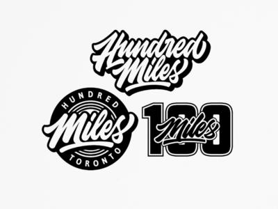 100 miles lettering logo