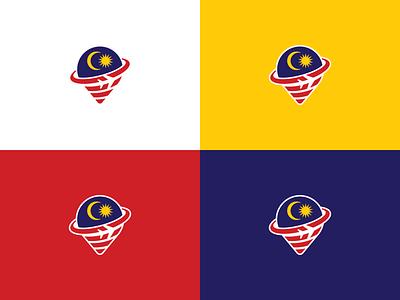 TOUR DU LICH MALAYSIA .vn - Logomark traveling tourist tour location pin plane malaysia travel design logo