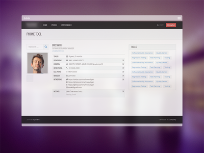 Employee Page dashboard human people resources management profile skills
