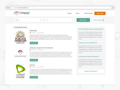 Carpooling Communities  communities carpool search sidebar join sign in list carpool arabia traffic transportation social