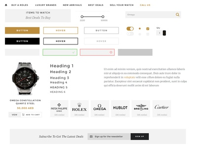 Timepiece 360 UI ui kit ui kit watches e-commerce forms menu radio form typography search luxury