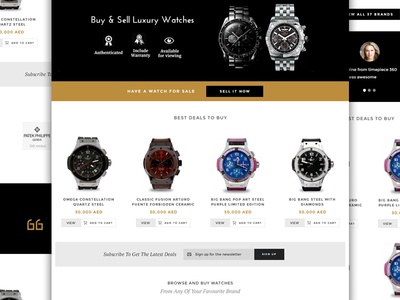 Timepiece 360 Homepage cart testimonials luxury brands marketplace landing page home page watches e-commerce