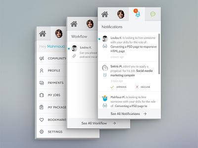 Freelancer Menu Tabs workflow inbox messages mobile profile notification ui ux
