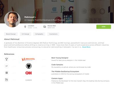 Freelancer Profile tags ux ui reviews portfolio skills reference freelance profile