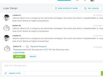 Workstream Messenger client ui. ux freelancer payment chat messenger