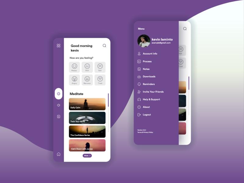 Meditation App meditation app profile menu concept homepage app design application appdesign app design ui uidesign calm meditate meditation