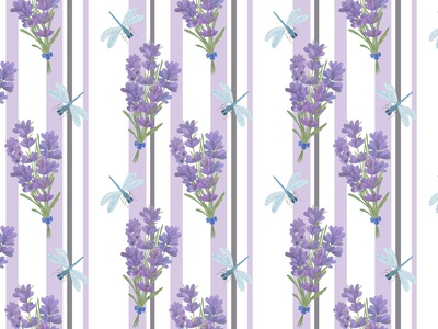 lavender flowers and dragonflies on the striped background
