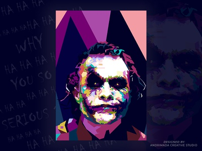 Heath Ledger as Joker fan art decoration poster design flat design vector illustration