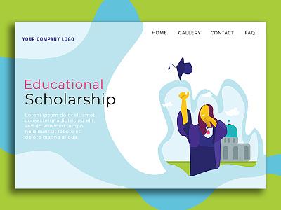 Educational Scholarship scholarship education education website landingpage flatdesign flat ui design flat design vector illustration