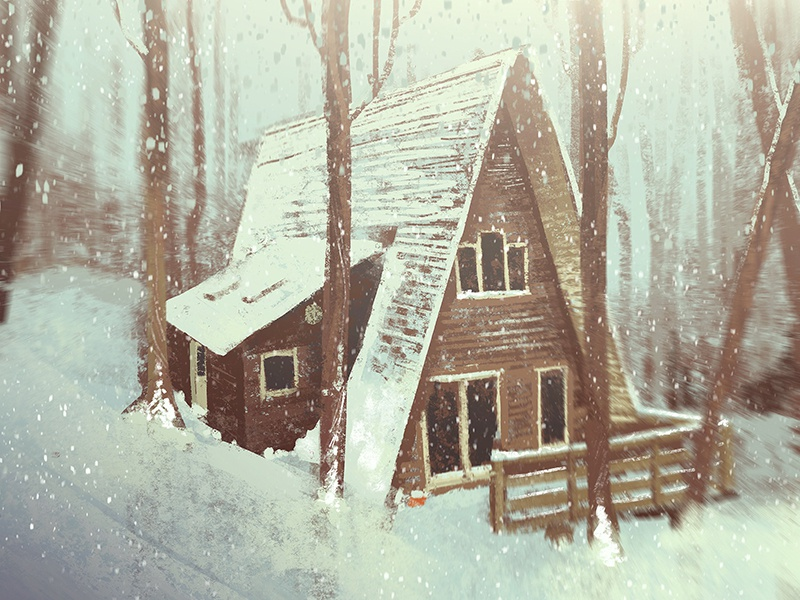 One Hour Cabin 8 snow winter cabin paint texture 2d illustration
