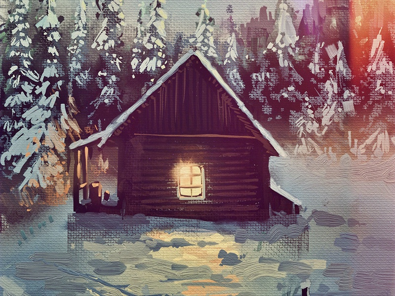 One Hour Cabin 9 snow winter cabin paint texture 2d illustration