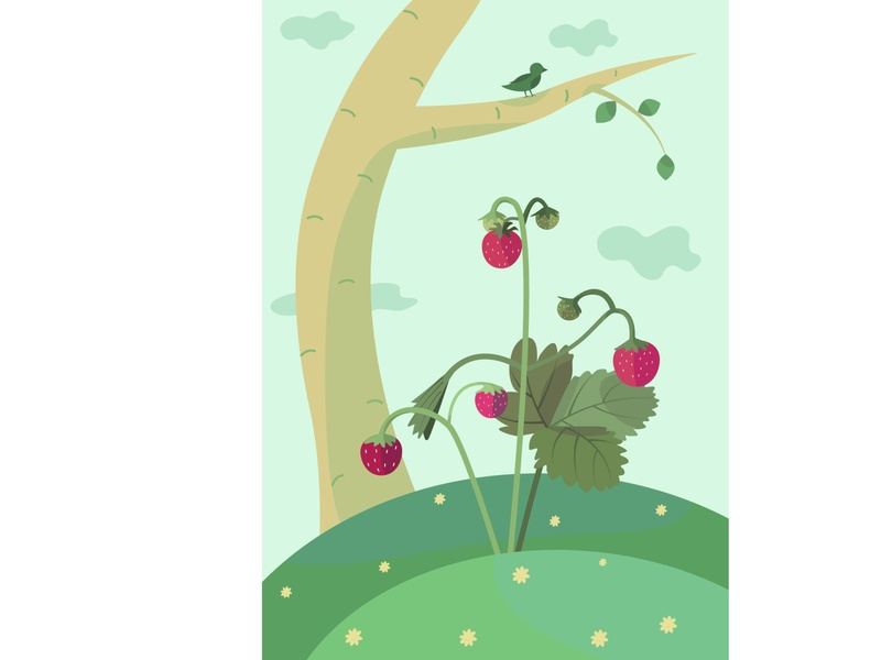 Strawberry in triad forest nature strawberry vector illustration vector illustration triad