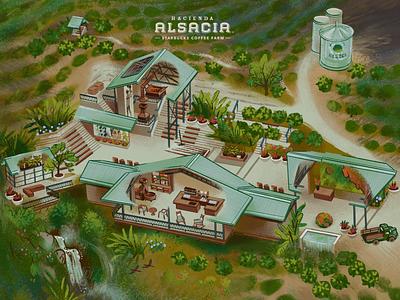 Hacienda Alsacia for Starbucks art ui isometric illustration costarica farm coffee graphic design illustration map isometric