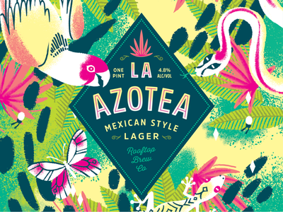 La Azotea for Rooftop Brew Co typogaphy graphic americas west coast seattle can packaging label lime beer mexican procreate illustraton illustrator