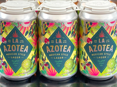 La Azotea for Rooftop Brew Co procreate rainforest parrot mexico mexican graphic packaging typography type logo beer brewery label design