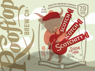Scotch Scotch Scotchity Scotch for Rooftop bagpipes cow badge type peat scotch scotland scottish can procreate illustrator illustraion design packaging label beer