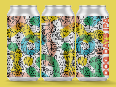 Dog Days IPA for Rooftop Brew Co graphic summer cute dogs dog brewery seattle beverage packaging design label can beer