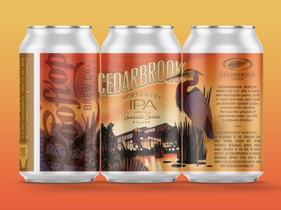 Cedarbrook IPA for Rooftop Brew Co packaging print classic type typogaphy sunset hospitality beverage label can beer seattle brewery hotel illustration design