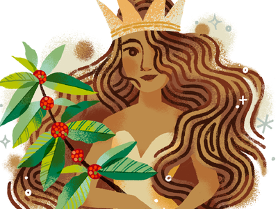 Siren for Starbucks graphic book cafe fantasy procreate goddess art illustration queen feminine woman mermaid siren coffee starbucks