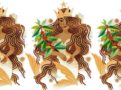 Siren for Starbucks graphic book cafe fantasy procreate goddess art illustration queen feminine woman mermaid siren coffee starbucks