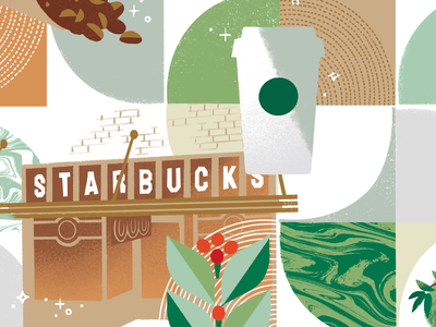 Starbucks Coffee Academy Level 100 Cover artwork art layout grid coffee packaging seattle print graphic illustration design
