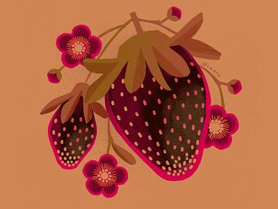 September Strawberries botanical market farm warm graphic spot illustration illustrator