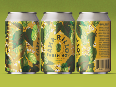 Amarillo Fresh Hop Can for Rooftop illustration type badge fresh botanical brewing hops seattle brewery beer label can graphic design