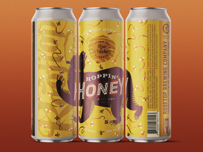 Hoppin' Honey Imperial Pint pint label packaging brewery can beer branding seattle graphic design illustration