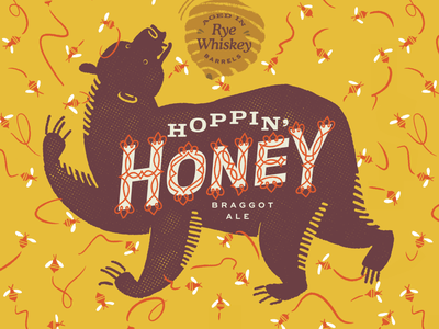Hoppin' Honey Imperial Pint honey bear packaging label can brewery beer branding lettering print seattle graphic design illustration
