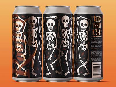 Trick Or Treat Yo'Self Pumpkin Pale packaging can brewery beer pumpkin halloween skeleton seattle print label design illustration branding graphic design