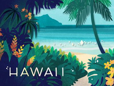 Hawaii gift card illustration design tropical travel hawaii coffee beach starbucks vector