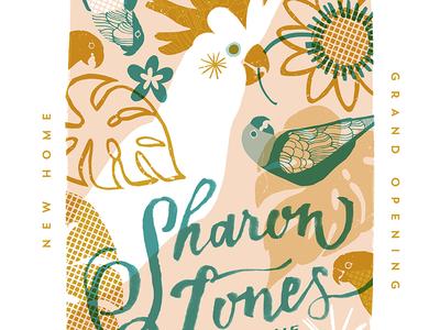 Sharon Jones at KEXP New Home  illustration script handlettering brushlettering tropical parrot screenprint gigposter design poster