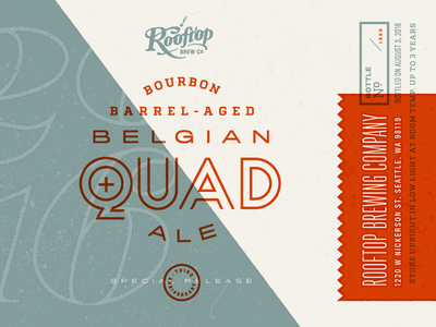 Bourbon Belgian Quad for Rooftop Brew Co packaging typography design ale seattle brewery duotone print label beer