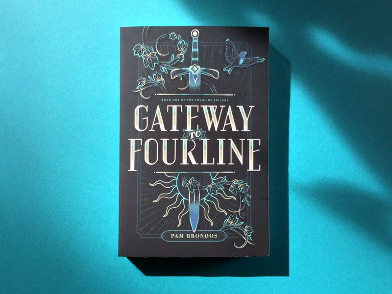 Gateway to Fourline typography sword gilded fantasy medieval illustration design jacket cover book