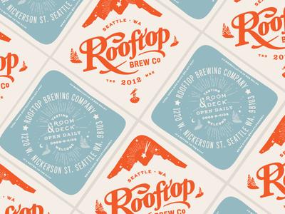 Rooftop Coasters typography branding logo design print wine beer brewery coaster screenprint