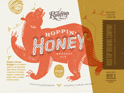Rooftop Brew Co Hoppin' Honey honey bees bear typography design ale seattle brewery duotone print label beer