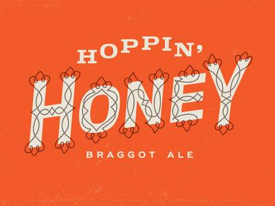 Rooftop Hoppin' Honey Title bottle label duotone print brewery beer honey flourish type logotype logo
