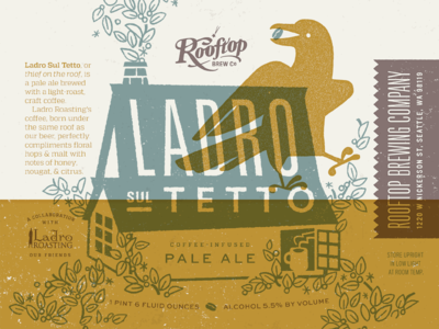 Rooftop Brew Co. Ladro Sul Tetto illustration design coffee house bird crow print duotone brewery bottle label beer