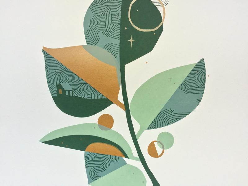 For the Love of Plants nature illustration botanical leaf plant green gold art print screenprint
