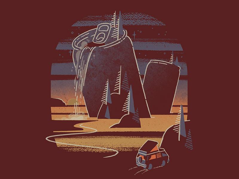 Cannon Beach T-shirt sunset landscape van washington oregon camping screen print t-shirt graphic can beer