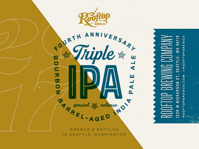 Triple IPA for Rooftop Brew Co badge typography seattle print packaging label duotone design brewery beer ale