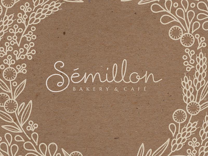 Sémillon Bakery & Cafe 1 illustration logotype lettering cursive french floral warm kraft custom script branding logo