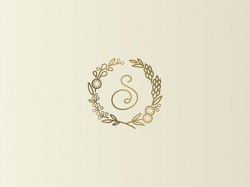 Sémillon Bakery & Cafe Monogram badge monogram warm script logotype logo lettering illustration french floral custom branding