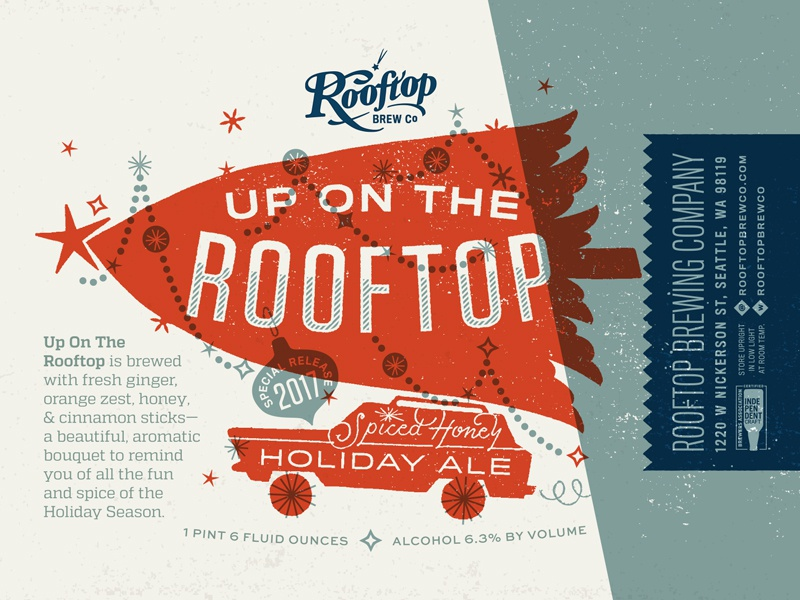Up On the Rooftop Holiday Ale for Rooftop Brew Co car holiday tree christmas