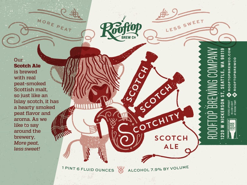 Scotch Scotch Scotchity Scotch Ale whiskey ale duotone illustration bagpipes scottish scotland bottle packaging brewery label beer