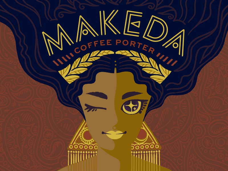 Makeda Coffee Porter: Outtake bae beyonce portrait sheba gold lettering illustration label woman beer queen