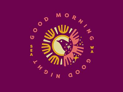 Introducing Good Morning Good Night Studio stars sparkles icon sun bird night morning graphic design badge logo