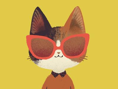 Cat Portrait face calico portrait sketch glasses illustration cateye cat