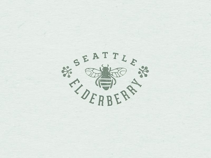 Seattle Elderberry 01 medicine berry honey organic natural bee icon graphic design badge logo