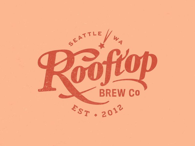 Rooftop Brewing Company classic custom typography seattle branding brand beer brewery design badge logotype lettering logo